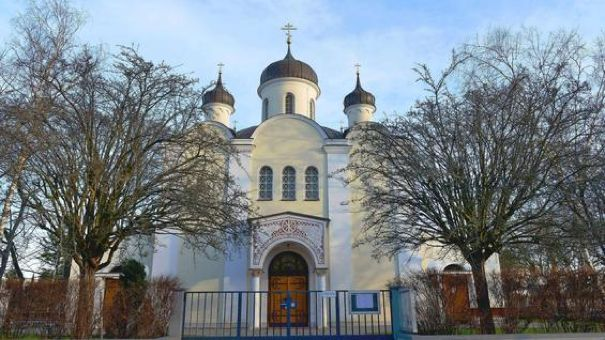 Resurrection of Christ Russian Orthodox Cathedral in Berlin-Wilmersdorf, built 1936 - 1938. Its iconostasis originates from an ancient church near Warsaw. Photo: Tsp.